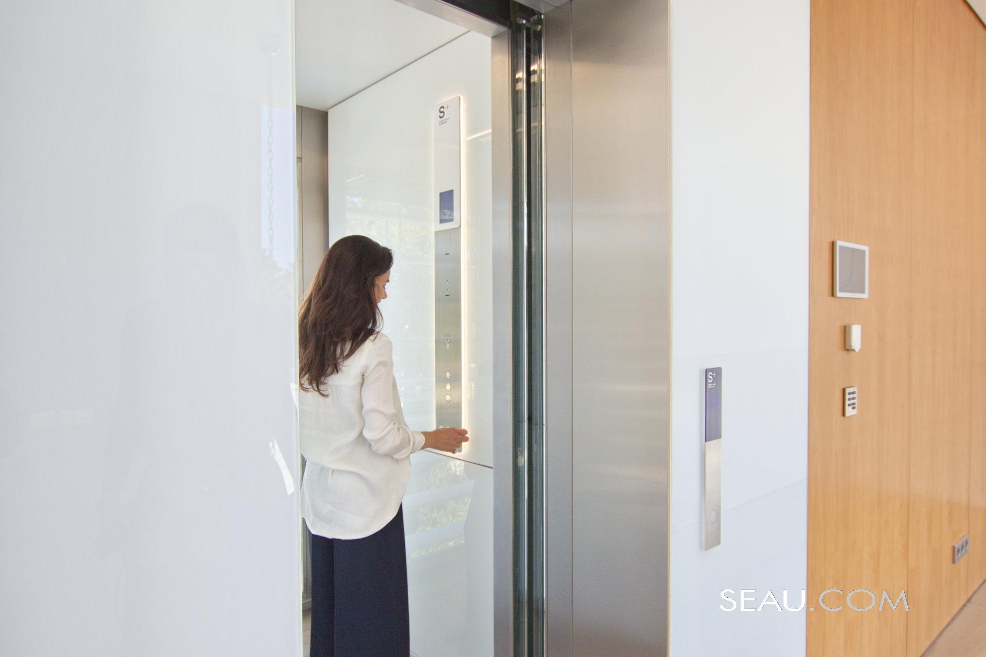 Schmitt + Sohn glass elevator, goes between the first floor and the basement