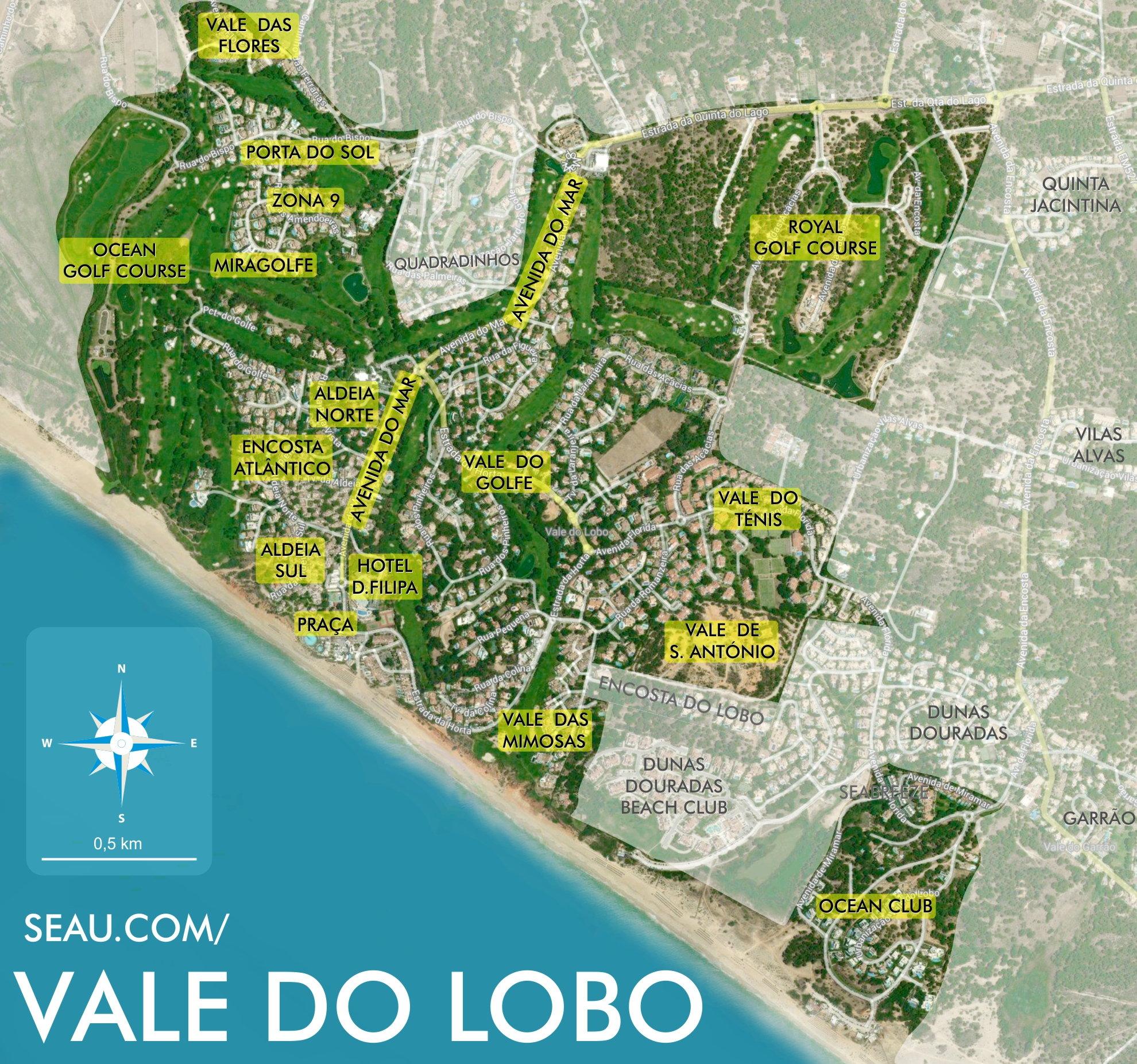 Karte der Wohngebiete in Vale do Lobo