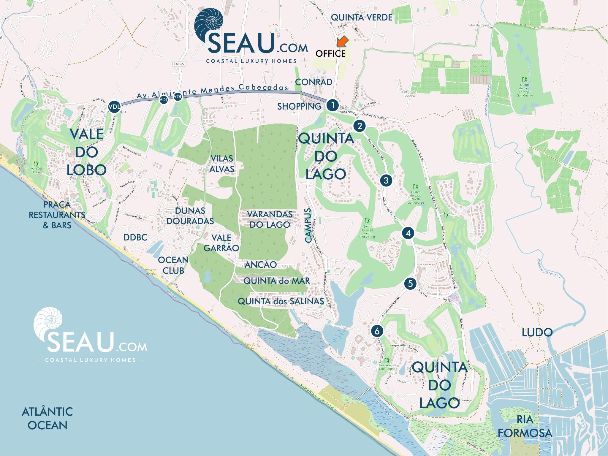 Carte des régions de Quinta do Lago et de Vale do Lobo. Les bureaux de SEAU.com sont situés à QuintaPortal, à 600 mètres du premier rond-point de Quinta do Lago